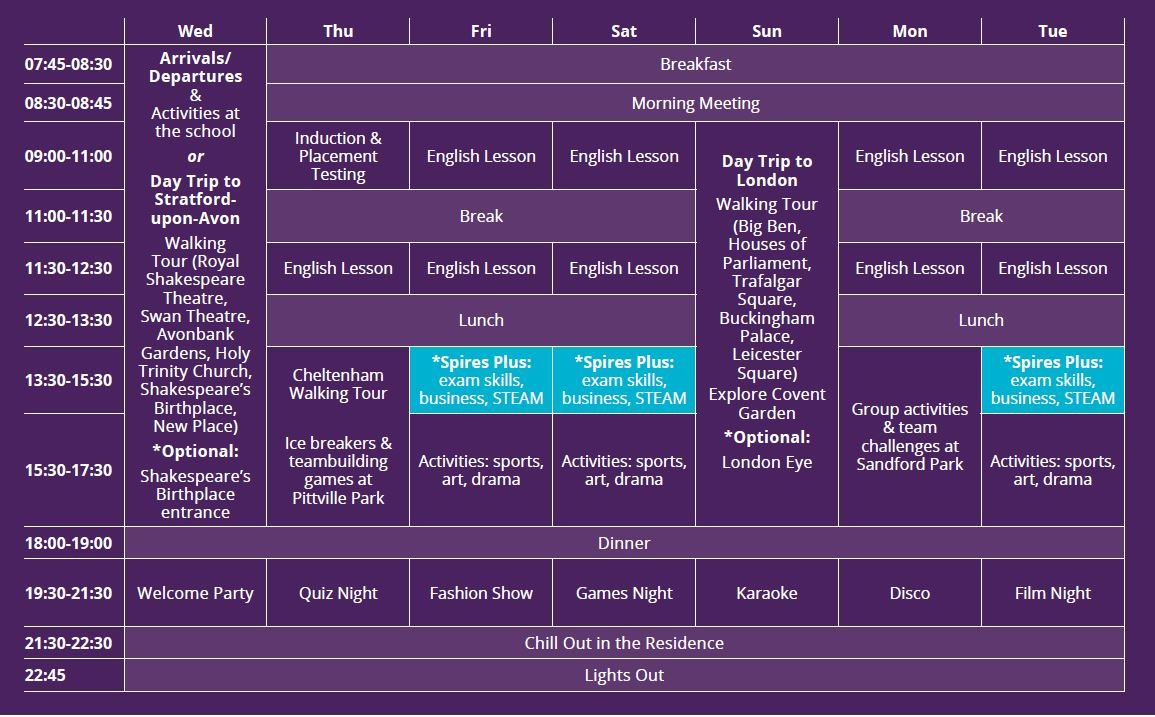 Sample language vacation timetable at Cheltenham Ladies' College