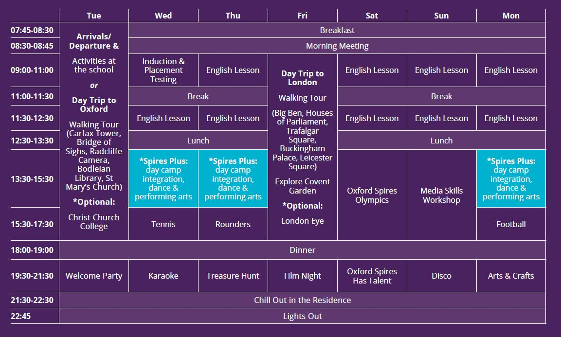 Sample language vacation timetable at Sibford School