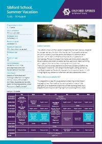 Sibford's info sheet