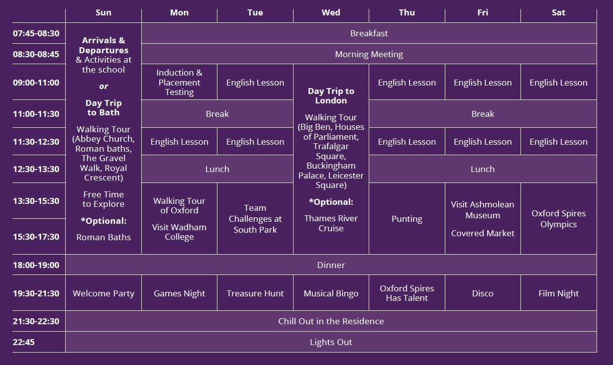 Sample language vacation timetable at Oxford Brookes University