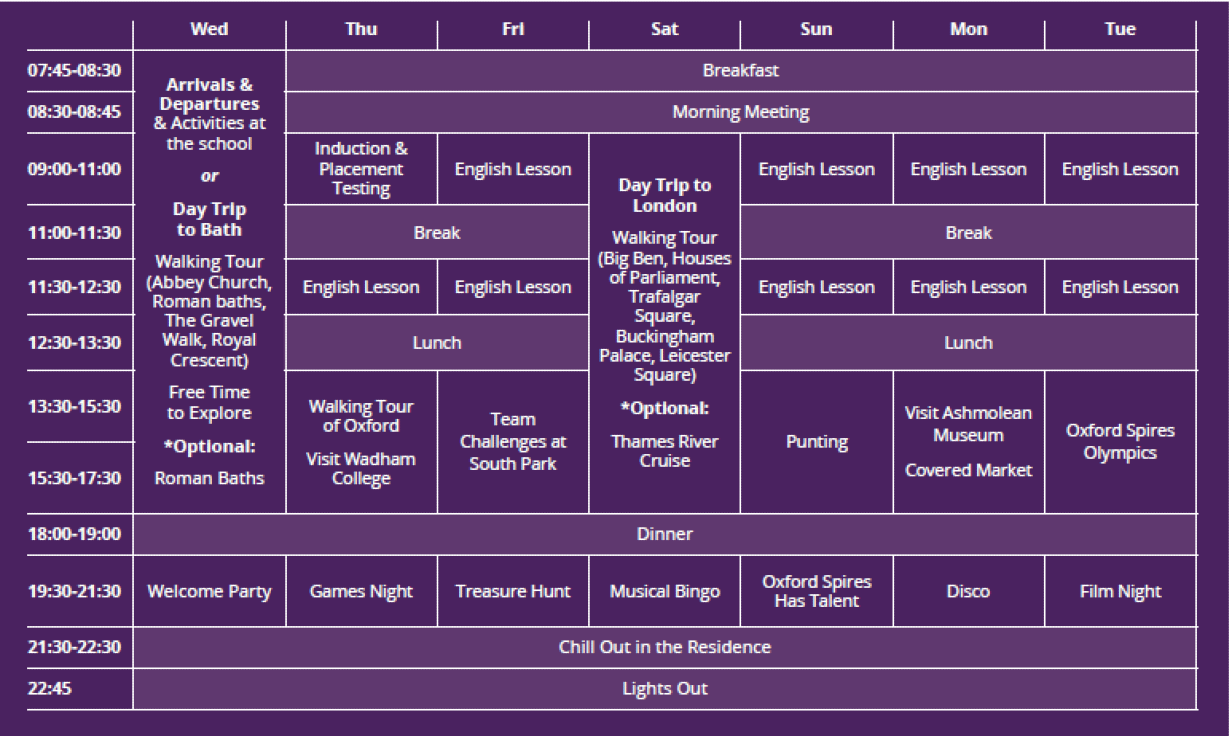 Sample language vacation timetable at Oxford International College