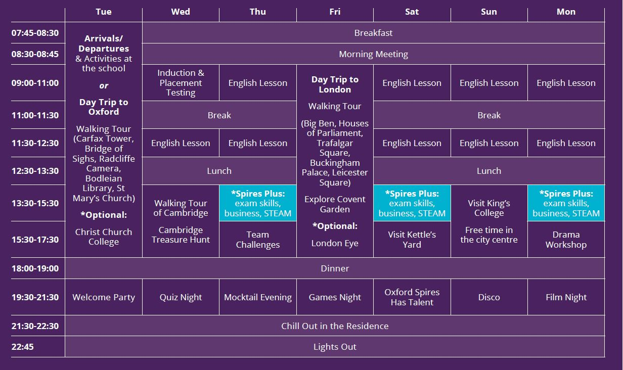 Sample language vacation timetable at Anglia Ruskin University