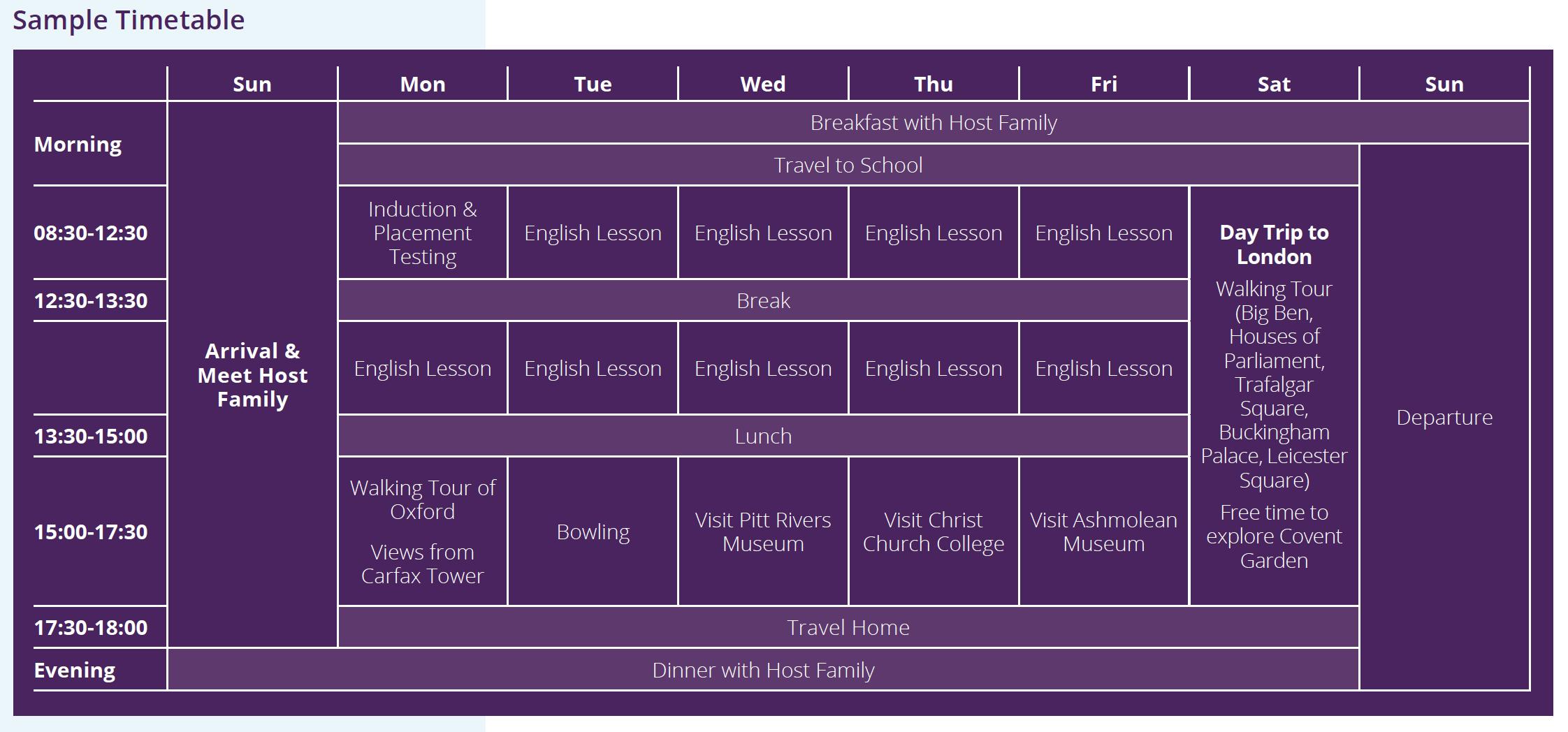Sample language vacation timetable at Cheltenham Ladies' College