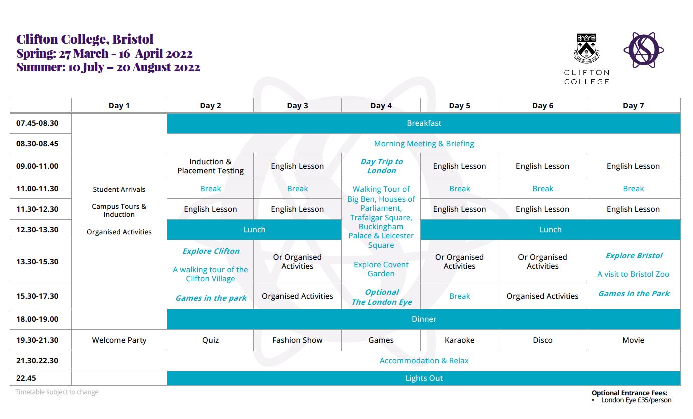 Clifton sample timetable