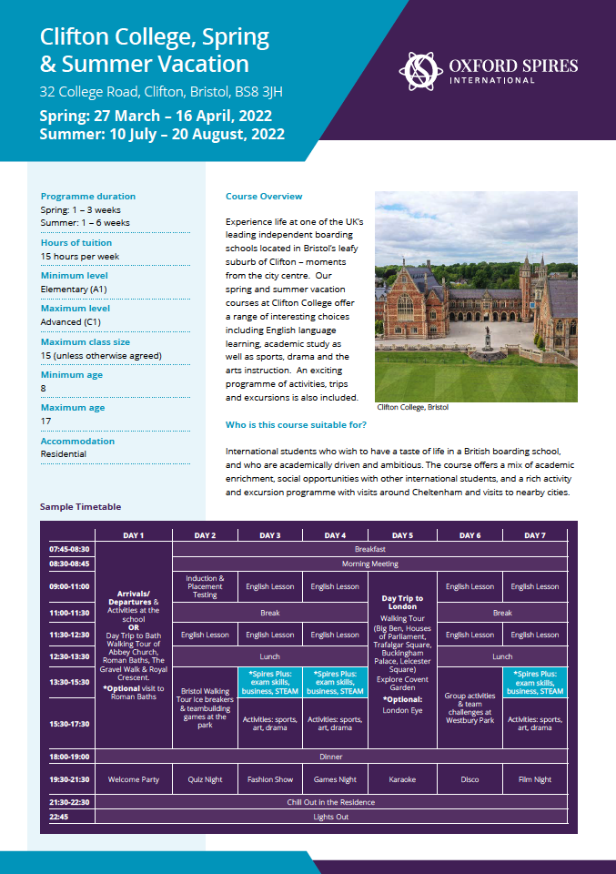 Clifton College download info sheet