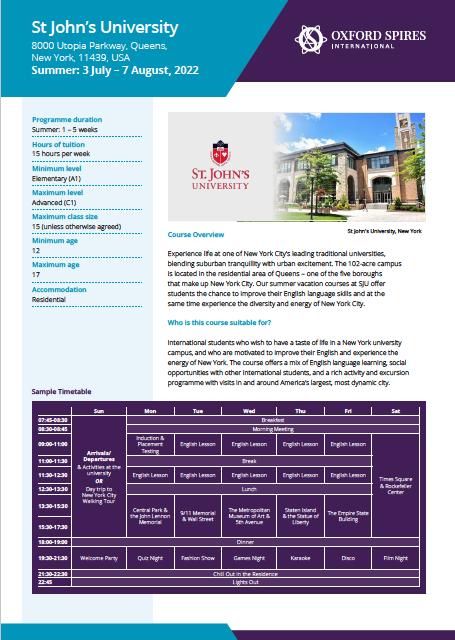 St John's University info sheet