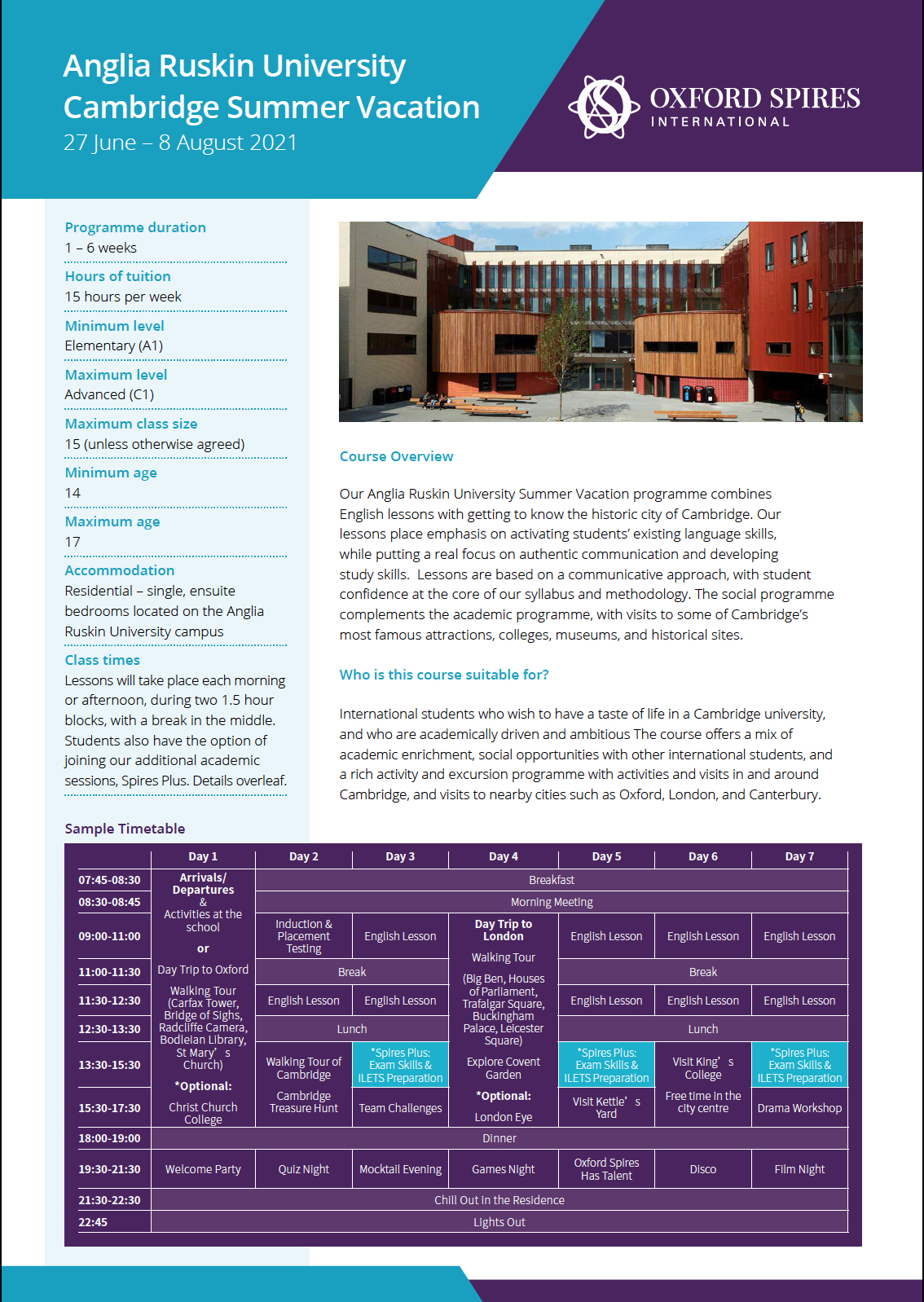 Anglia Ruskin University's summer vacation info sheet