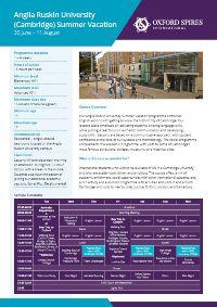 Anglia Ruskin University's summer vacation info sheet