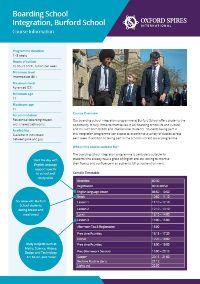 Burford School info sheet