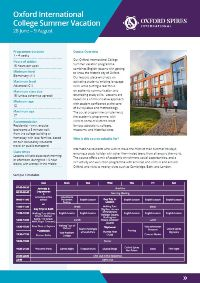 Oxford International College's summer vacation info sheet