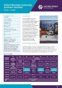 Oxford Brookes University's summer vacation info sheet