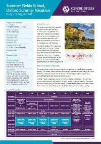Summer Fields School's summer vacation info sheet